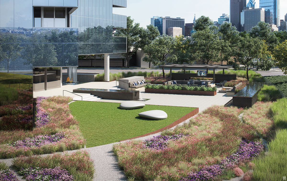 view of private outdoor garden with trees near luxury condos for sale