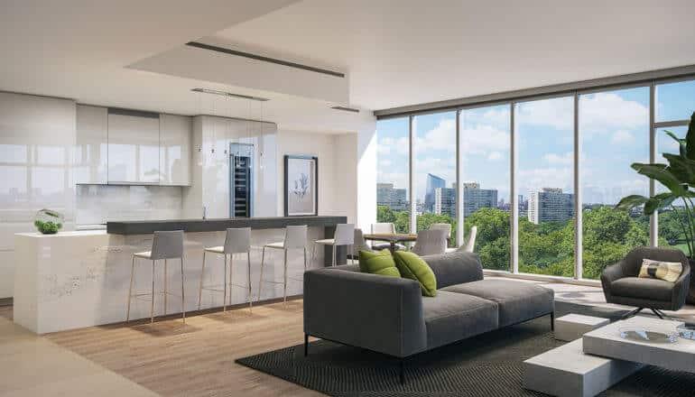 spacious, elegant open kitchen with floor-to- ceiling windows in luxury home in Philadelphia