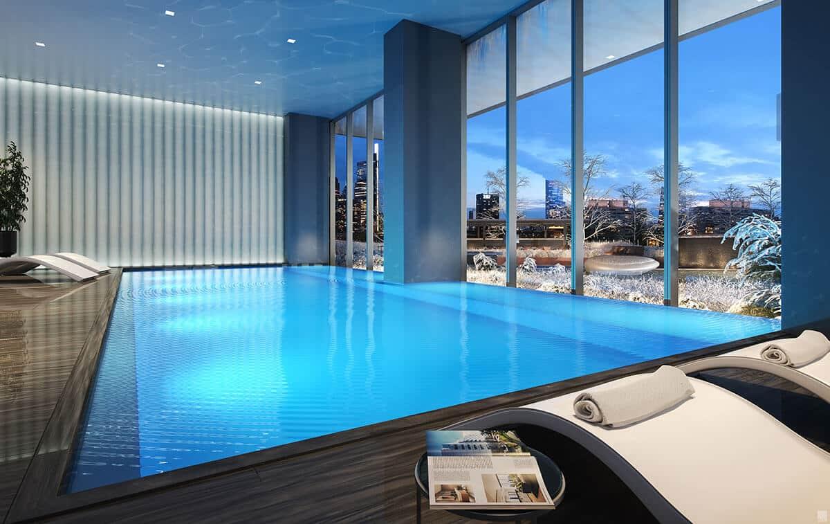 vast indoor salt-water swimming pool in luxury condo in Philadelphia