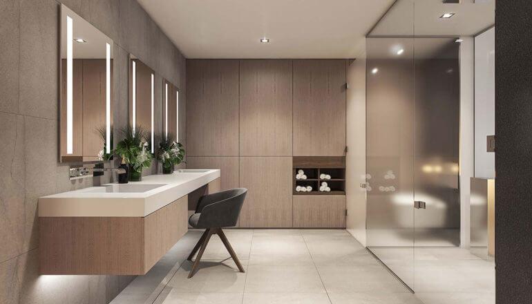 large, private master bathroom in luxury home in Philadelphia