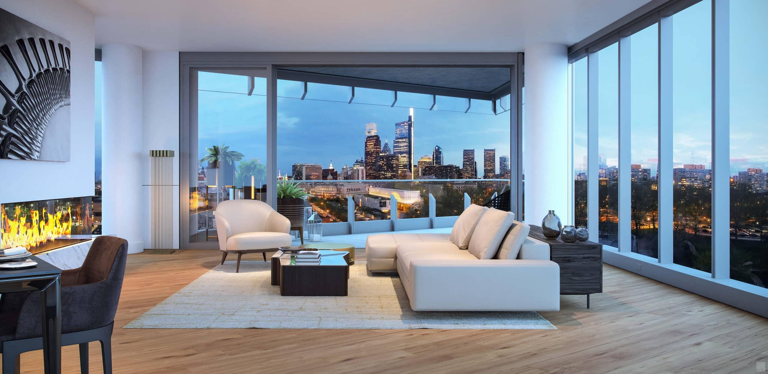 white furniture in living room of stylish, luxury condo in Philadelphia