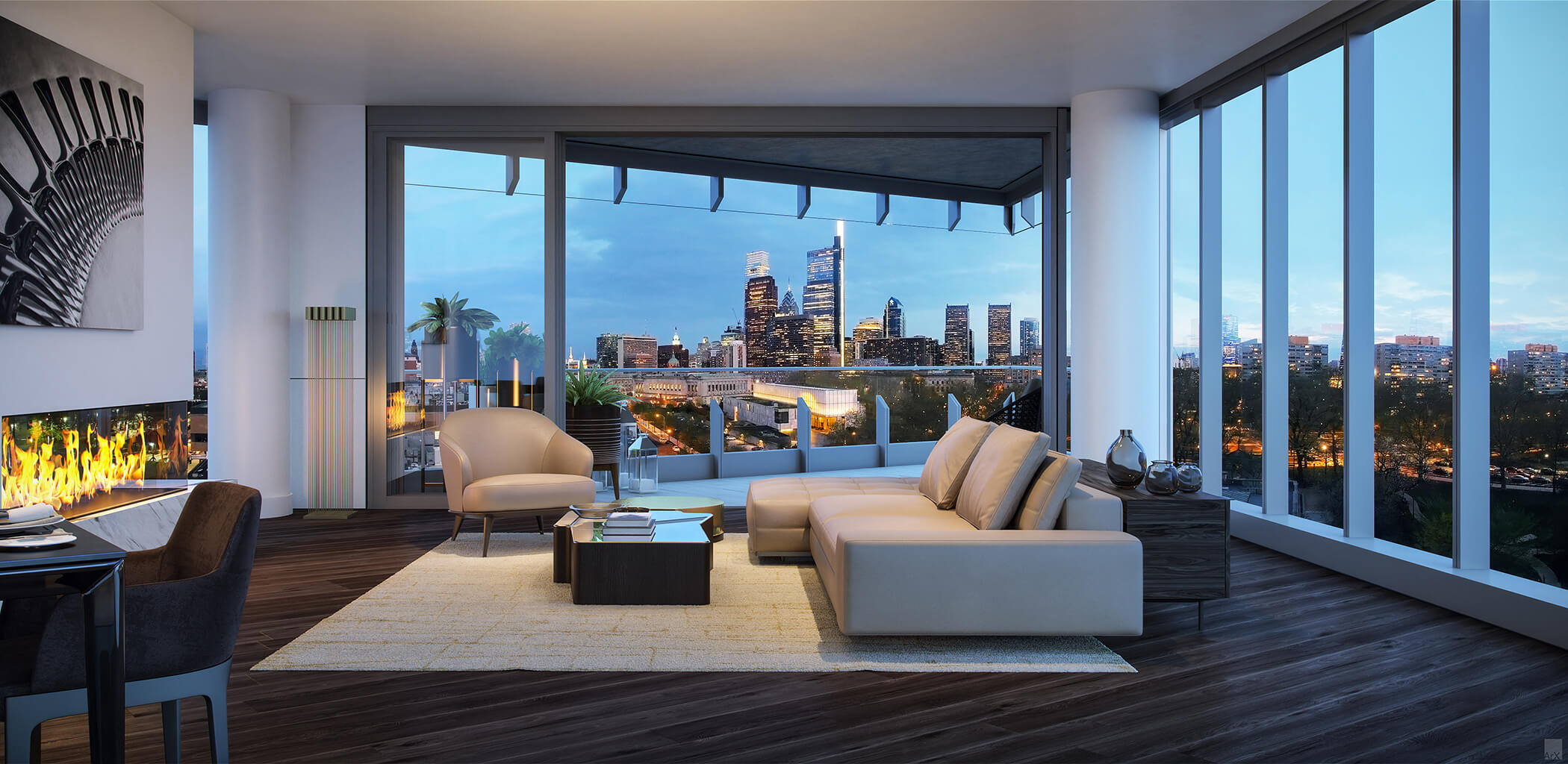 breathtaking view of city skyline from living room of luxury condo in Philadelphia