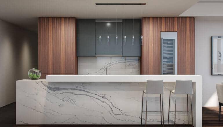 spacious, modern kitchen in luxury condo for sale in Philadelphia