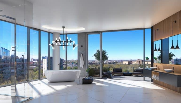 luxury master bath at the penthouse 2100 Hamilton Philadelphia