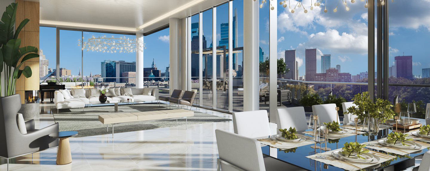 The luxurious penthouse suite at the 2100 Hamilton in Philadelphia